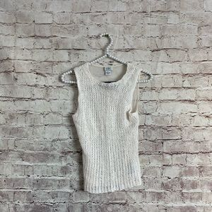Guess Small White Mohair Mesh Tank Sweater